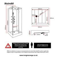 Insignia 900mm x 900mm Noire90 Steam Shower